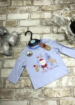Новогодний реглан на мальчика, хлопковый с принтом, дед мороз, англия