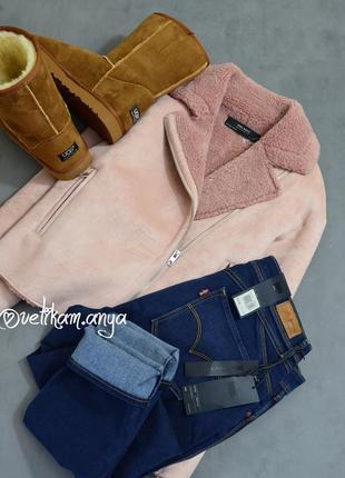 Zara шикарная розовая пудровая дубленка