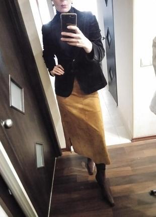 Длинная юбка из натуральной замши имитация пэчворк