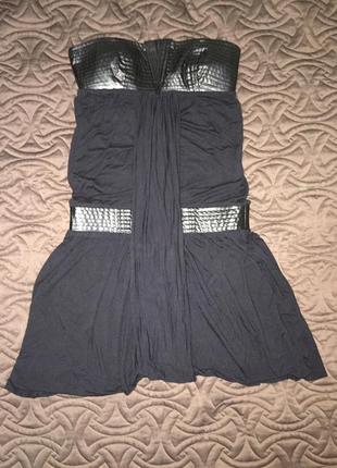 Крутое платье с кожаными вставками р-р s