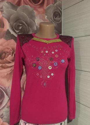 Розовый реглан-кофточка* favori* с декором-стразы!