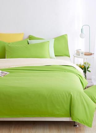 Набор однотонного постельного белья салатово-молочный евро