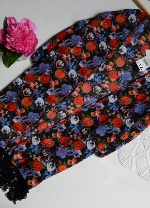 Кардиган кимоно пляжная накидка цветочный принт