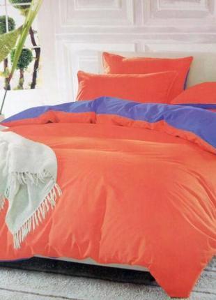 Набор однотонного постельного белья оранжево-сиреневый двуспальный1 фото