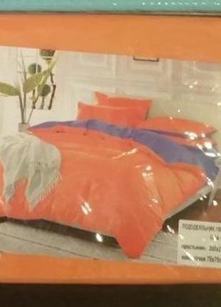 Набор однотонного постельного белья оранжево-сиреневый двуспальный4 фото