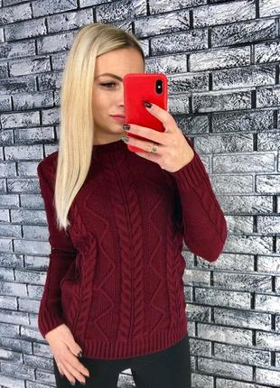 Стильный вязаный свитер в цветах