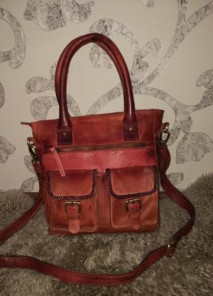 Люксовая!сумка натуральная кожа бренда 5th avenue