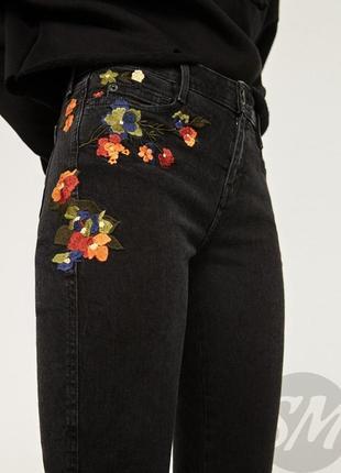 Скини джинсы zara с вышивкой