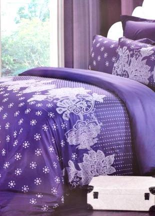 Набор фиолетового постельного белья с напылением евро