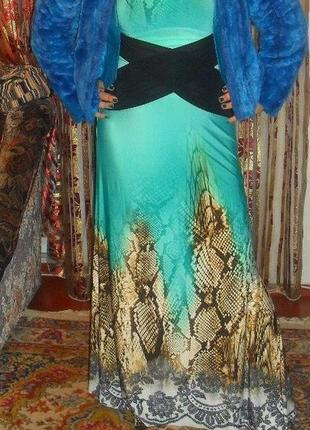 Платье макси бирюзово-леопардовое.