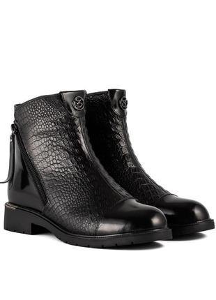 1130ц женские ботинки polann,кожаные,на танкетке,на широком каблуке,на низком ходу