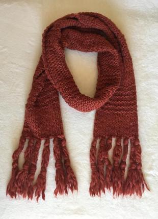 Терракотовый шарф крупной вязки 30% шерсть