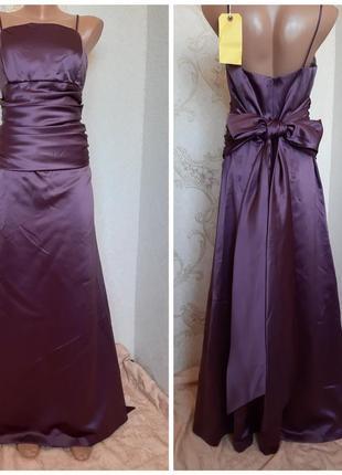 Вечернее атласное платье в пол трендового цвета фиолет от c&a