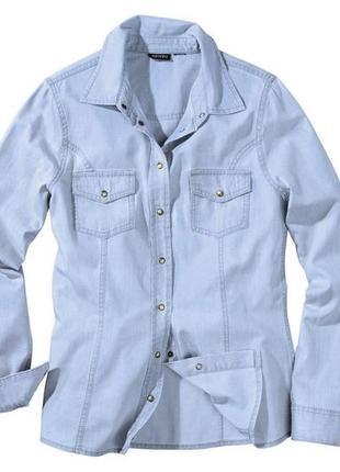 Женская джинсовая рубашка светлый деним esmara