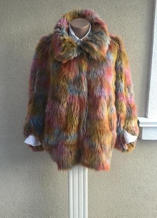 Яркая,пушистая шубка-пончо,меховое пальто большого размера,asos
