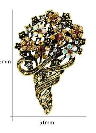 Шикарная объемная дизайнерская винтажная брошь античное золото горный хрусталь