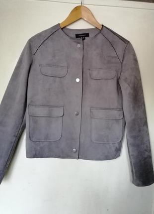 Серая куртка пиджак под замш atmosphere