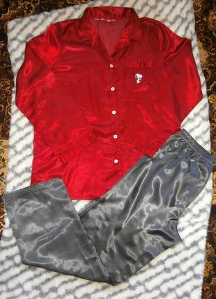 Мужская комбинированная атласная пижама