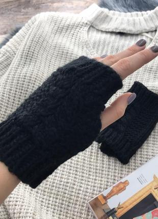 Теплые вязанные перчатки без пальцев, митенки bershka