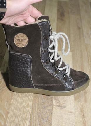 Шикарні зимові снікерси pepe jeans ботинки сникерсы