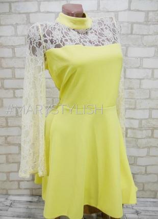 Платье лимонного цвета с ажурной спинкой и рукавами, очень крутое