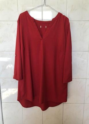 Блуза рубашка красная zara большой размер