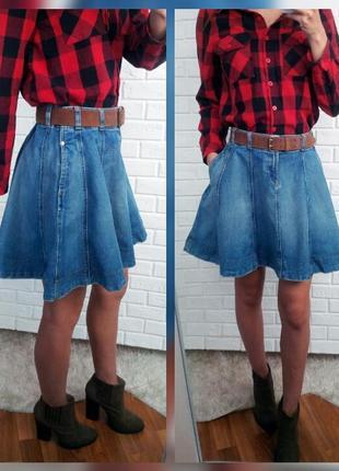 Пышная джинсовая юбка на высокой талии ralph lauren (оригинал)