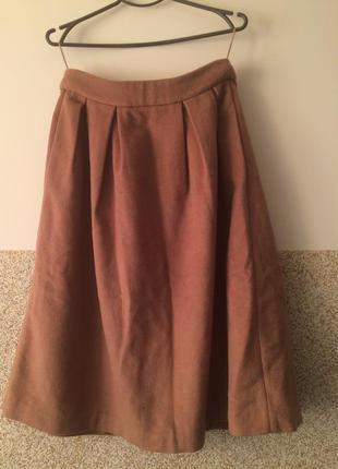 Шикарная   шерстяная  брендовая теплая       юбка    c карманами от edith ella  с-м