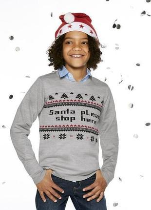 """Новогодний свитер """"санта остановись пожалуйста тут"""" на 122-128 и 134-140"""