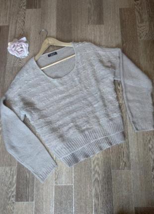 Милый свитерок кофта оверсайз интересно декорирован