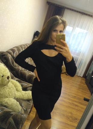 Новое платье миди с вырезом в рубчик / приталенное платье /s-m, l