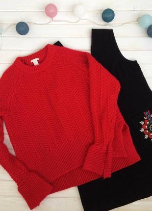 Шикарный красный свитер с разрезами на рукавах h&m