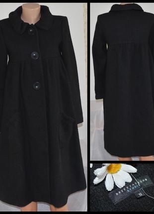 Брендовое черное демисезонное шерстяное пальто с карманами betty jackson турция