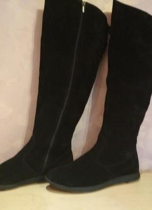 Зимние ботфорты -сапоги 42-43 р замшевые большого размера
