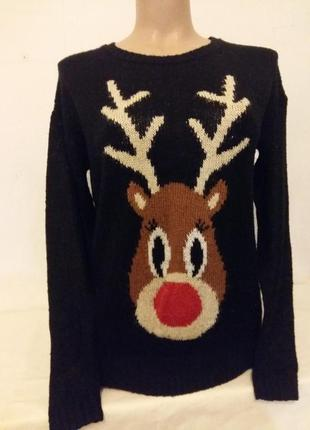 Теплый джемпер merry christmas с принтом олень