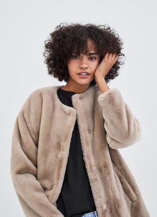 Шуба пальто новая из искусственного меха, zara