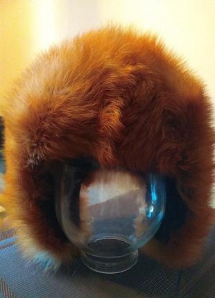 Шапка-ушанка из меха лисы