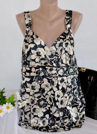 Брендовая атласная майка блуза next турция цветы