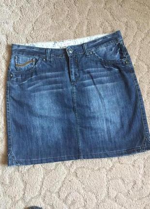 Супер юбка джинсовая с потёртостью 2xl-3xl(54)