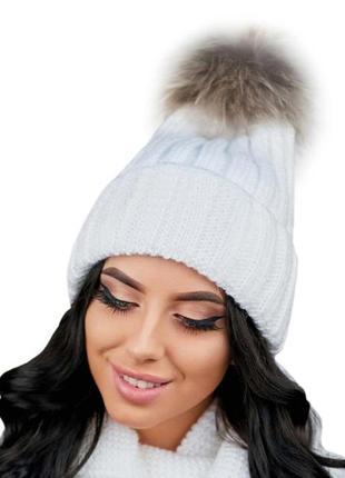 Зимняя демисезонная женская вязаная шапка с меховым помпоном