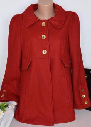 Брендовое темно-красное шерстяное демисезонное пальто с карманами new look этикетка