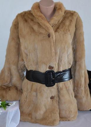 Новогодняя распродажа 50%. натуральная двухсторонняя шуба с поясом и карманами кролик
