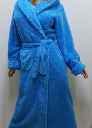 Женский длинный махровый халат с капюшоном размеры от 46 до 58