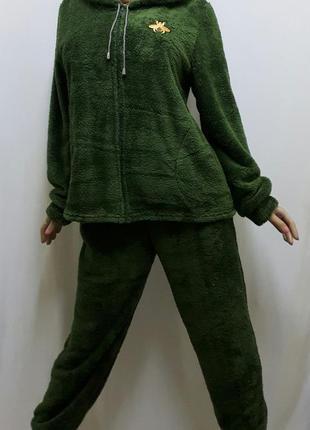 Женская махровая пижама с капюшоном на молнии размеры 44-56