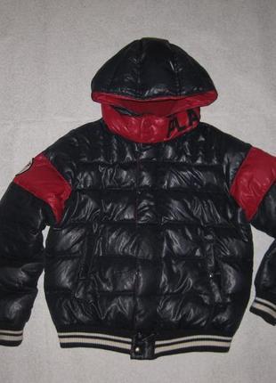 10-11 лет, натуральный пуховик benetton, зимняя куртка для мальчика