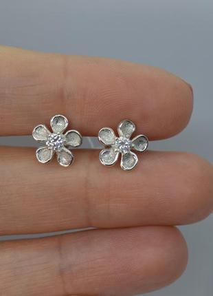 Серебряные серьги #пусеты, #гвоздики, #цветочки, #на закрутках, #925