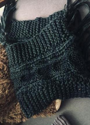 Черный очень длинный вязанныц шарф! супер теплый!