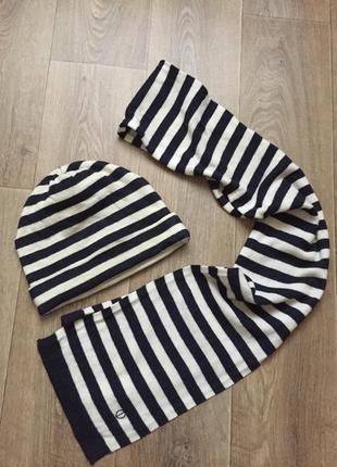 Шапка шарф полоска комплект зима тёплая шерсть lambswool бренд люкс