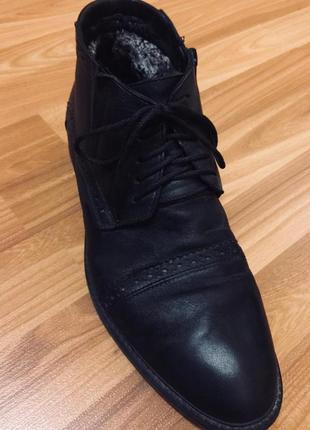 Зима мужские кожаные ботинки