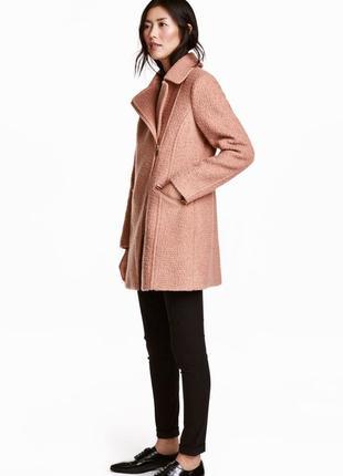 Пудровое шерстяное пальто h&m